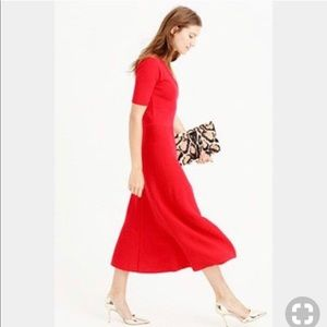 J. Crew Merino Wool V Neck Midi Flare Dress